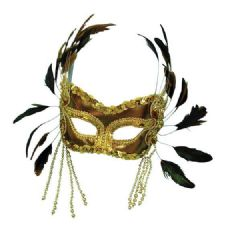 Gold Velvet Mask with Feathers